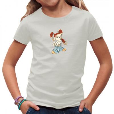 Kleines freches Punker-Mädchen als Comic-Motiv für dein Shirt.