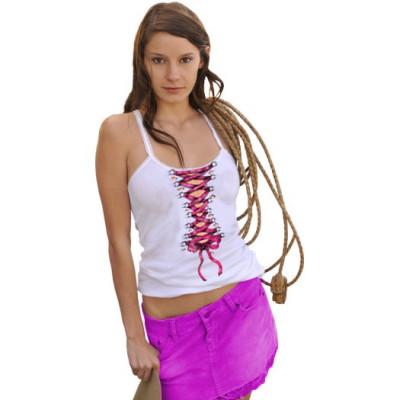 Shirt-Motiv: Rosa Korsage  Pinke Korsagenschnürung. Cooler Rückendruck