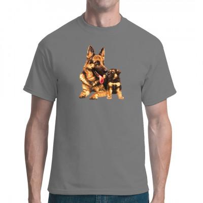 Schäferhund und Welpen, Tiere, Haustiere, X - XXL Motive, Tiere & Natur, Hunde, Hunde