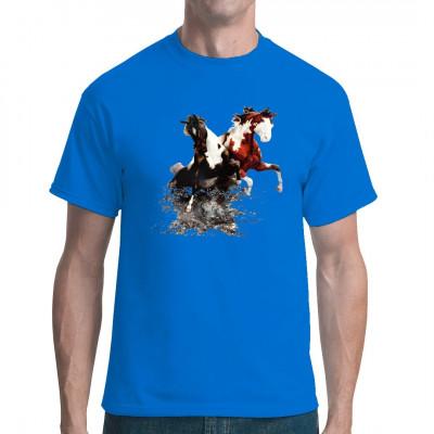 Pferde Shirt Motiv: 2 Pferde im Fluss Toller Textildruck für alle Pferdezüchter, Tierfreunde und passionierten Reiter.