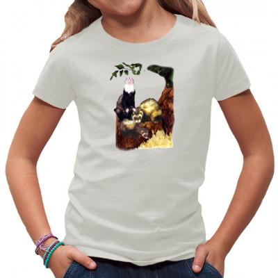 Neugierige Frettchen als Natur-Motiv für dein T-Shirt, Sweatshirt oder V-Neck  Mittels Siebdruck-Transfer bedruckt, waschfest