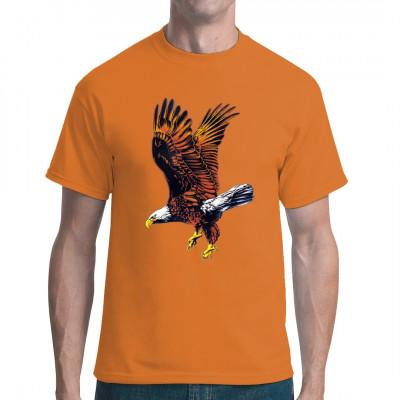 Fliegender Adler als großflächiger Druck für Dein Wunsch-Textil. Das ideale Geschenk für alle Naturfreunde.  Mittels Siebdruck-Transfer bedruckt, waschfest