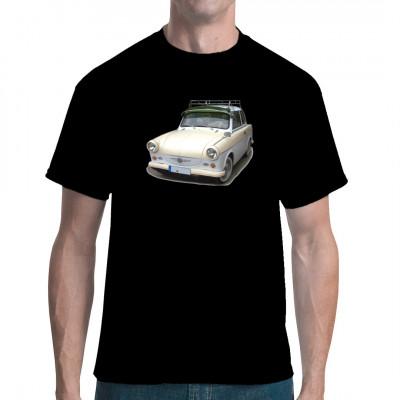 T-Shirt - Motiv : Trabi P50 500 Der mehrjährige Verkaufsschlager aus Zwickau gehört zu den ersten Autos der Kompaktklasse mit genügend Platz für 4 Personen mit Gepäck.