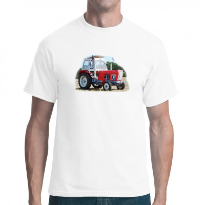 Traktor Fortschritt TT 220 mit rotem Lack als T-Shirt - Motiv  Motivgröße ca. 26x19 cm