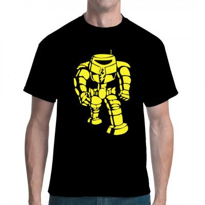Unser Roboter Robi gibt sein Debut auf deinem T-Shirt. Und natürlich gehorcht er dabei den Robotergesetzen nach Isaac Asimov. Also keine Sorge, er wird euch keinen Schaden zufügen.  Ähnlichkeiten mit dem Roboter-Shirt aus The Big Bang Theory sind zufäll