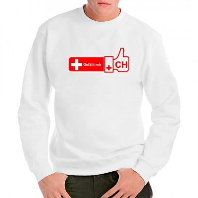 Schweiz Like it - Daumen hoch - die Schweizer haben gewählt  Motivgröße: 30 x 12 cm