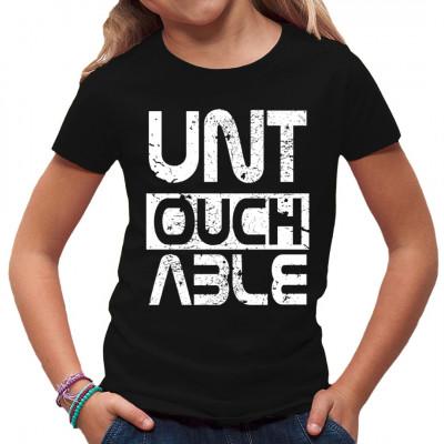Untouchable Schriftzug in klaren Buchstaben als Motiv für dein Shirt.  Cooler Tattoo Style Print