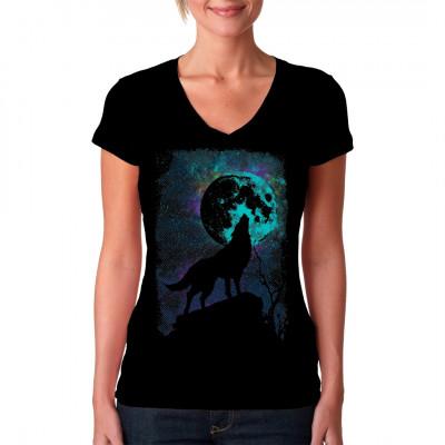 Gibt es etwas, das mehr nach WILDNIS klingt als ein Wolf, der auf einem Felsvorsprung steht und den vollen Mond anheult? Waschfester Digital-Direktdruck