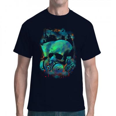 Farbintensives Shirt-Motiv mit Totenkopf, Giftmüllfass und Handgranaten