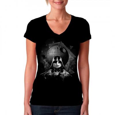 Katze mit Darth Vader Outfit und Todesstern als waschfester Digital-Direktdruck für dein T-Shirt, Sweatshirt oder V-Neck. Motivvariante: Weiß
