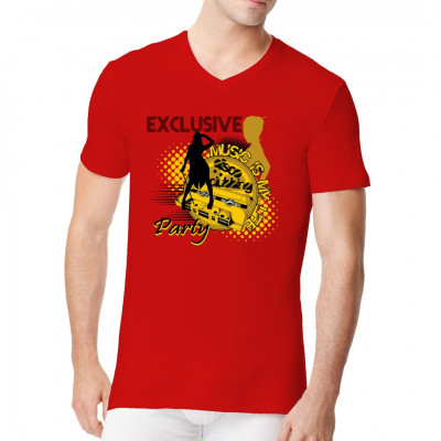 """""""Music Is My Life"""" - Shirt mit schwarz-gelbem Aufdruck, Tape und Tänzer"""