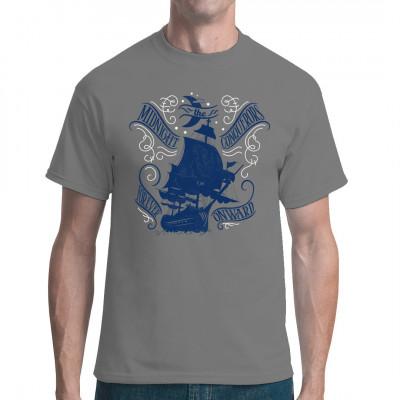 Piraten Segelschiff bei Nacht unterm Halbmond  Cooles Shirt Motiv für alle Segel Fans. Mittels Digital-Direktdruck aufgebracht. waschfest