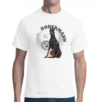 Hunde T-Shirt Motiv: Dobermann Foto Spots; Mit Hund ist das Leben besser.