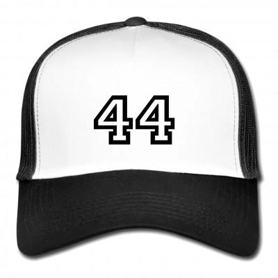 """5 Panel Meshcap in Weiß & Schwarz mit Aufdruck """"44"""""""