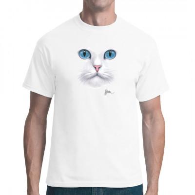 Cooles T-Shirt Motiv: Leuchtende blaue Katzenaugen Eine niedliche Hauskatze erwartet Dich auf Deinem Shirt.