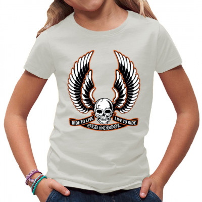 Skull Wings Old School Ride to Life - Life to Ride Schriftzug mit geflügeltem Totenkopf