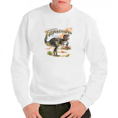 Vorsicht bissig!  Dieser T-Rex frisst euch nicht nur die Sauerkirschen weg und er lässt sich auch nicht von einem Elektrozaun aufhalten. Seid Ihr bereit, dieses urzeitliche Raubtier auf eurer Brust zu tragen?