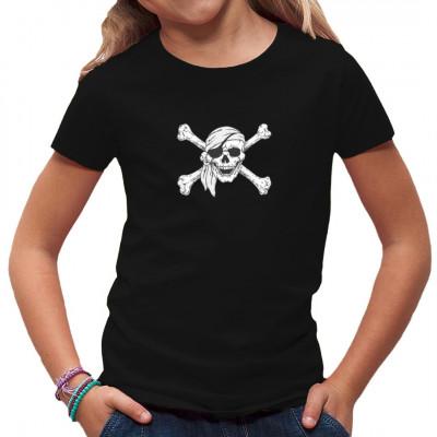 Jolly Roger, ein Schädel mit den gekreuzten Knochen, ist das traditionelle Zeichen der Piraten, vor allem in der Karibik. Hol dir diesen coolen Piraten Druck auf dein T-Shirt, Sweatshirt oder V-Neck.  Motivgröße: ca. 12x10 Zoll