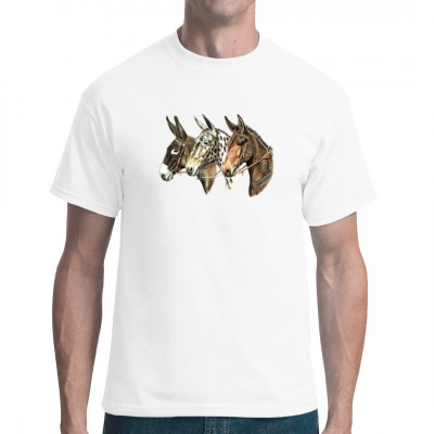 T-Shirt-Motiv: Drei Maultierköpfe  Drei Maultierköpfe in verschiedenen Farben. Ein tolles Tiermotiv und perfekt für Maultierbesitzer.
