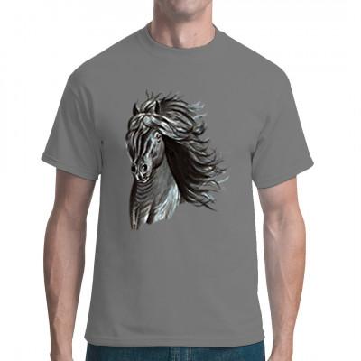 Pferdemotiv: Grauer Friese  Tolles Shirt Motiv für alle Pferdezüchter und Reiter.
