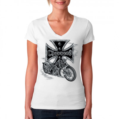 Biker-Motiv: Choppers Iron Cross Skeleton, Sale 20%, MOTIVE P - Z, X - XXL Motive, Tattoo Style, Männer & Frauen, Biker, Biker