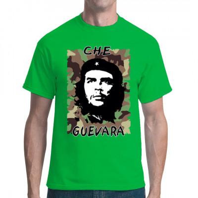 Che Guevara Motiv Shirt mit einem Tarnhintergrund.  Motivgröße: 33 x 24 cm