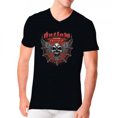 Outlaw from Hell - Skull and Wings, X - XXL Motive, Männer & Frauen, Totenköpfe & Gothic, Biker, Totenköpfe, Biker