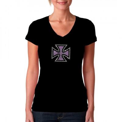 Eisernes Kreuz aus farbigem Strass Hochwertiger Rhinestone Druck für Dein T-Shirt, Sweatshirt oder V-Neck
