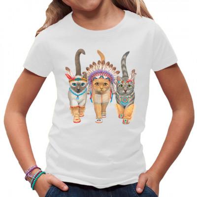 Shirt- Motiv: Indianerkatzen   Drei niedliche Katzen im indianer Kostüm. Ein tolles Motiv für Kinder und Katzenliebhaber.