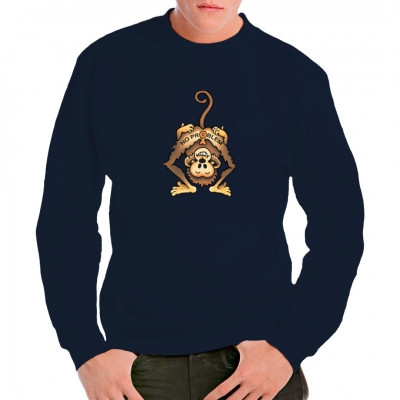 T-Shirt Motiv: No Problem Monkey  Lustiges Fun-Shirt Motiv. Süßes Äffchen? Von wegen! Diesem Primaten scheint die Sonne aus dem Arsch!