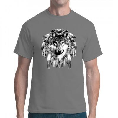 Traumfänger mit Wolf als spirituelles Indianer Motiv für dein T-Shirt, Sweatshirt oder V-Neck  Mittels Siebdruck-Transfer gedruckt, waschfest