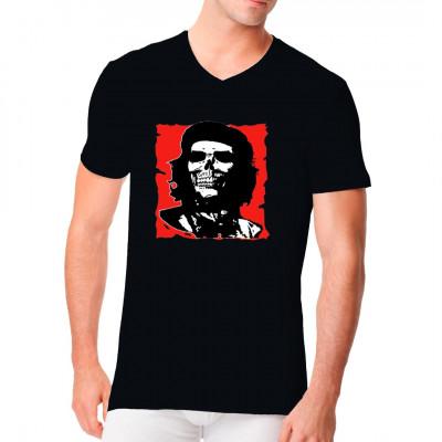 Punk - Motiv mit Totenschädel und roter Flagge im Stil von Che Guevara - Postern