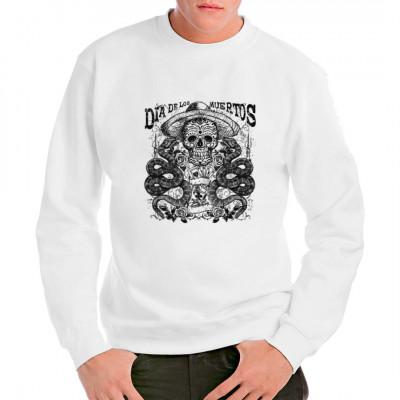T-Shirt Motiv: Día de los Muertos - Skull and snake  Zeigt eure Anteilnahme zum Tag der Toten mit diesem tollen T-Shirt. Das perfekte Motiv zum mexikanischen Feiertag.