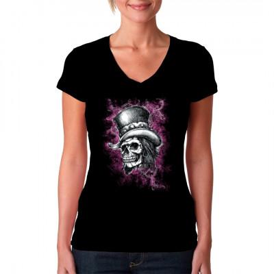 Totenschädel mit Zylinder in rosa Wolke Cooles Shirt - Motiv für Rockerbräute