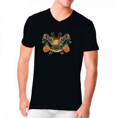 Adler und Rosen als stylisches Motiv für dein Shirt.
