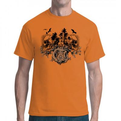 Silhouette einer tropischen Insel mit 2 Totenköpfen  Cooles Motiv für dein T-Shirt.