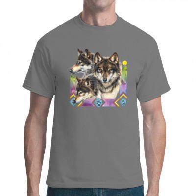 3 Wölfe als Shirt Motiv die ihr prachvolles Fell zeigen. Wolf Motiv Shirt. Motivgröße: 32 x 31 cm