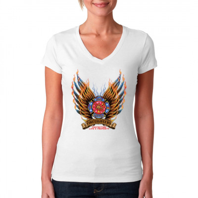 Du bist Feuerwehrmann/frau und stolz darauf? Dann zeig es mit diesem hochwertigen Druck auf deinem T-Shirt, Sweatshirt oder V-Neck.  Motivgröße: 35 x 31 cm