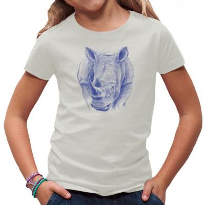 T-Shirt-Motiv : blaues Rhinozeros  Mittels Transfer Siebdruckverfahren aufgebracht. waschfest