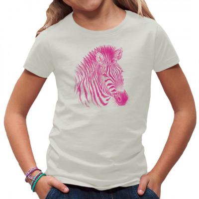 T-Shirt-Motiv : pinkes Zebra  Mittels Transfer Siebdruckverfahren aufgebracht. waschfest