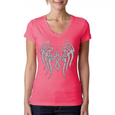 Silberne Engelsflügel im Tribal - Style als Aufdruck für dein Shirt.