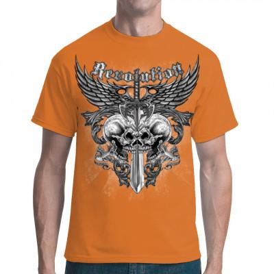 Revolution - Flügel, Schädel und Schwert, X - XXL Motive, Tattoo Style, Männer & Frauen, Totenköpfe & Gothic, Biker, Biker