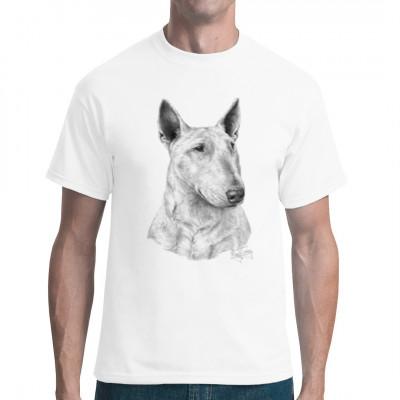 T-Shirt Motive: Bull Terrier Hund  Gezeichneter Bull Terrier. Das perfekte Motiv für Besitzer eines Bull Terriers.  Der beste Freund des Menschen. Es ist bewiesen, Hunde reagieren wie kleine Kinder und erkennen unsere Signale.