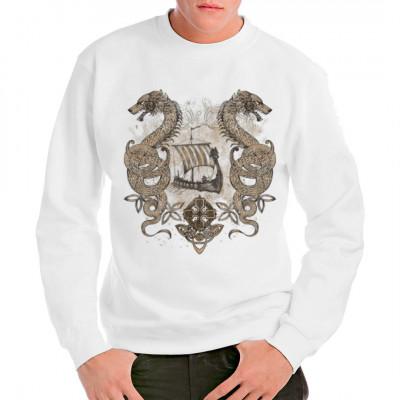 Wikinger Drachenboot mit Lindwürmern, Tiere, Drachen - Saurier - Fantasie, X - XXL Motive, Totenköpfe & Gothic, Wikinger & Gladiatoren, Gothic, Fantasy und Schädel