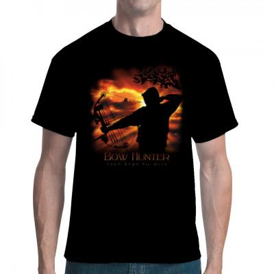 Bogenschütze spannt seinen Bogen und zielt. Bow Hunter als Motiv für dein Shirt.  Motivgröße: 34 x 32 cm
