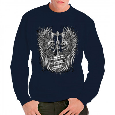 T-Shirt - Motiv: 2 Schädel mit Axt und Federn.  Three can keep a secret if two are dead.