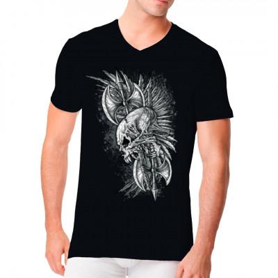T-Shirt - Motiv: Skull, Feathers and Axes Cooles Biker - Motiv mit Wikinger - Äxten und einem Totenschädel mit Raubtier-Zähnen.