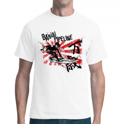 Motive: Banzai Surfer  Cooles japanisches Surfing T-Shirt, für jeden Japan und Surf fan.