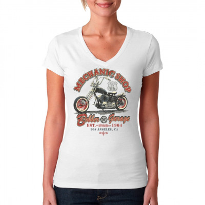Biker Motiv: Mechanic Shop - Bobber Garage, Fahrzeuge, Bikes / Fahrrad, X - XXL Motive, Männer & Frauen, Biker, Biker
