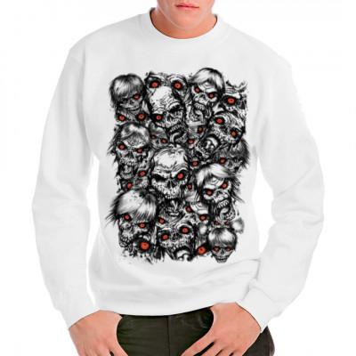 Zombieköpfe mit glühenden Augen, F - Fashion, X - XXL Motive, Männer & Frauen, Totenköpfe & Gothic, Gothic, Fantasy und Schädel